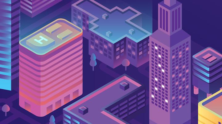 animowana ilustracja składająca się z kilku budynków w nowoczesnym mieście