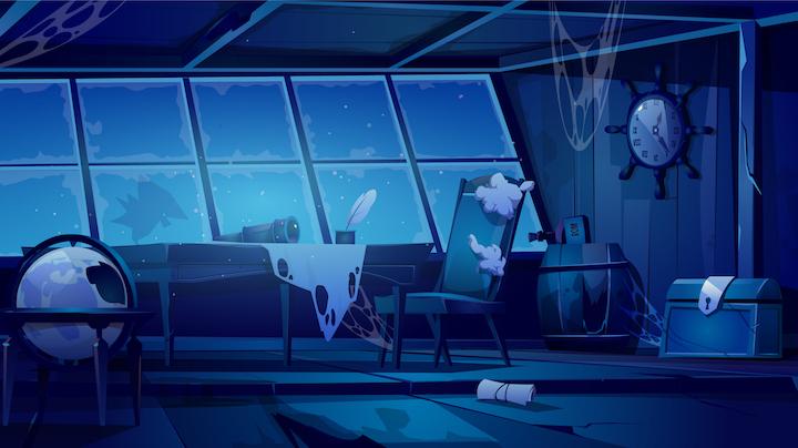 animowana ilustracja prezentująca pomieszczenie, w którym znajdują się krzesło, stół, globus, skrzynia i wiszący zegar