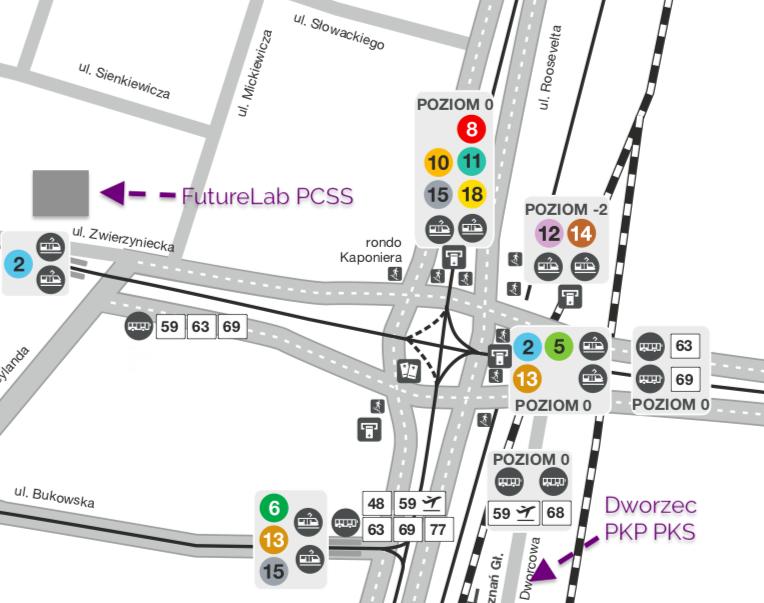 mapa prezentująca połączenie komunikacyjne z centrum miasta i Edulab