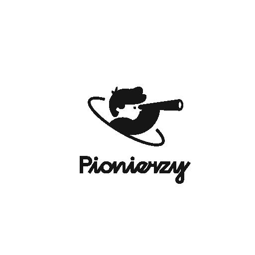 logotyp projektu Pionierzy 2030 przedstawiające głowę chłopca, który spogląda przez lunetę