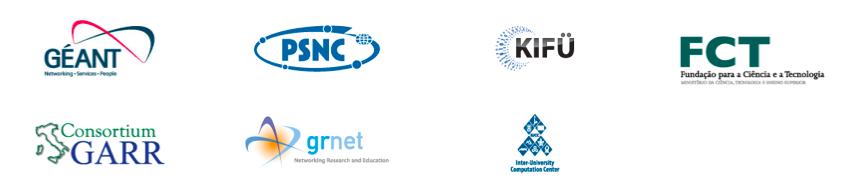 logotyp Geant, logotyp Poznan Supercomputing and Networking Center, logotyp KIFU, logotyp FCT, logotyp Consortium GARR, logotyp GRNET, logotyp Israel Inter-University Computation Center