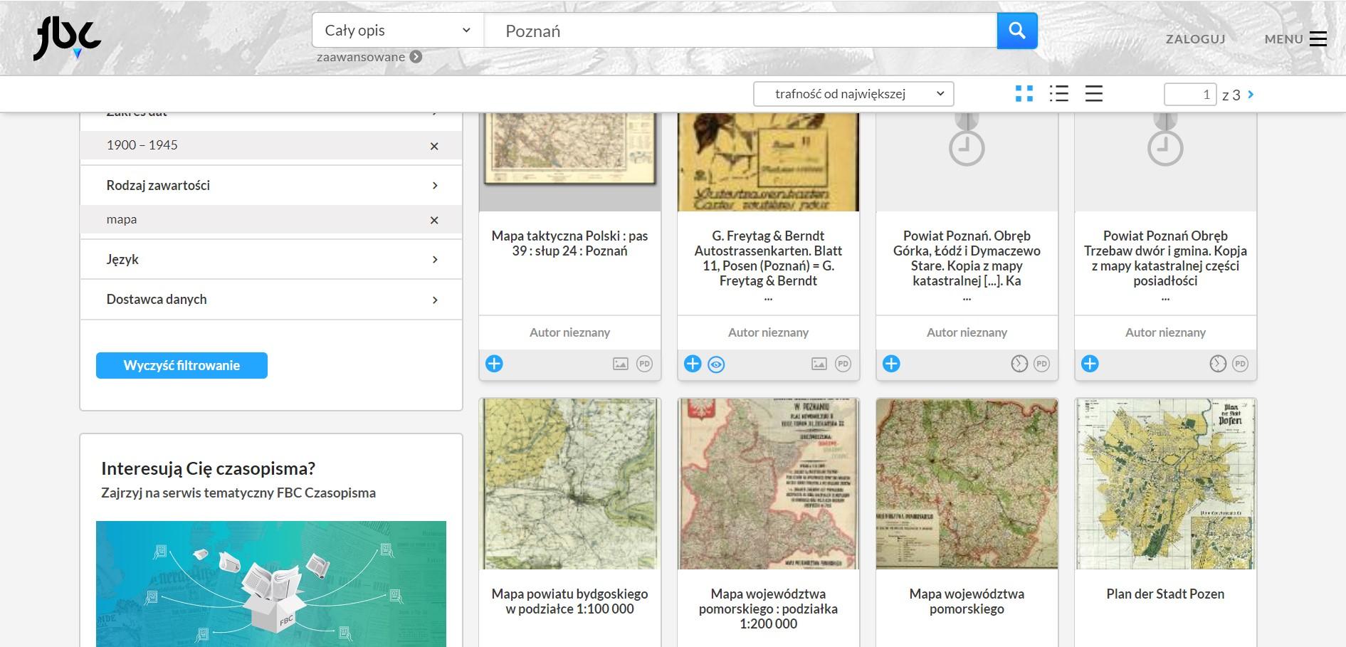 strona serwisu Federacja Bibliotek Cyfrowych, na której pojawiają się wyniki wyszukiwania, a wśród nich m.in. archiwalne mapy Poznania