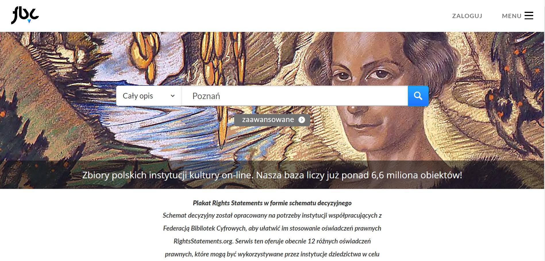 pasek wyszukiwania serwisu Federacja Bibliotek Cyfrowych umieszczony na tle archiwalnego obrazu, na którym widnieje twarz kobiety