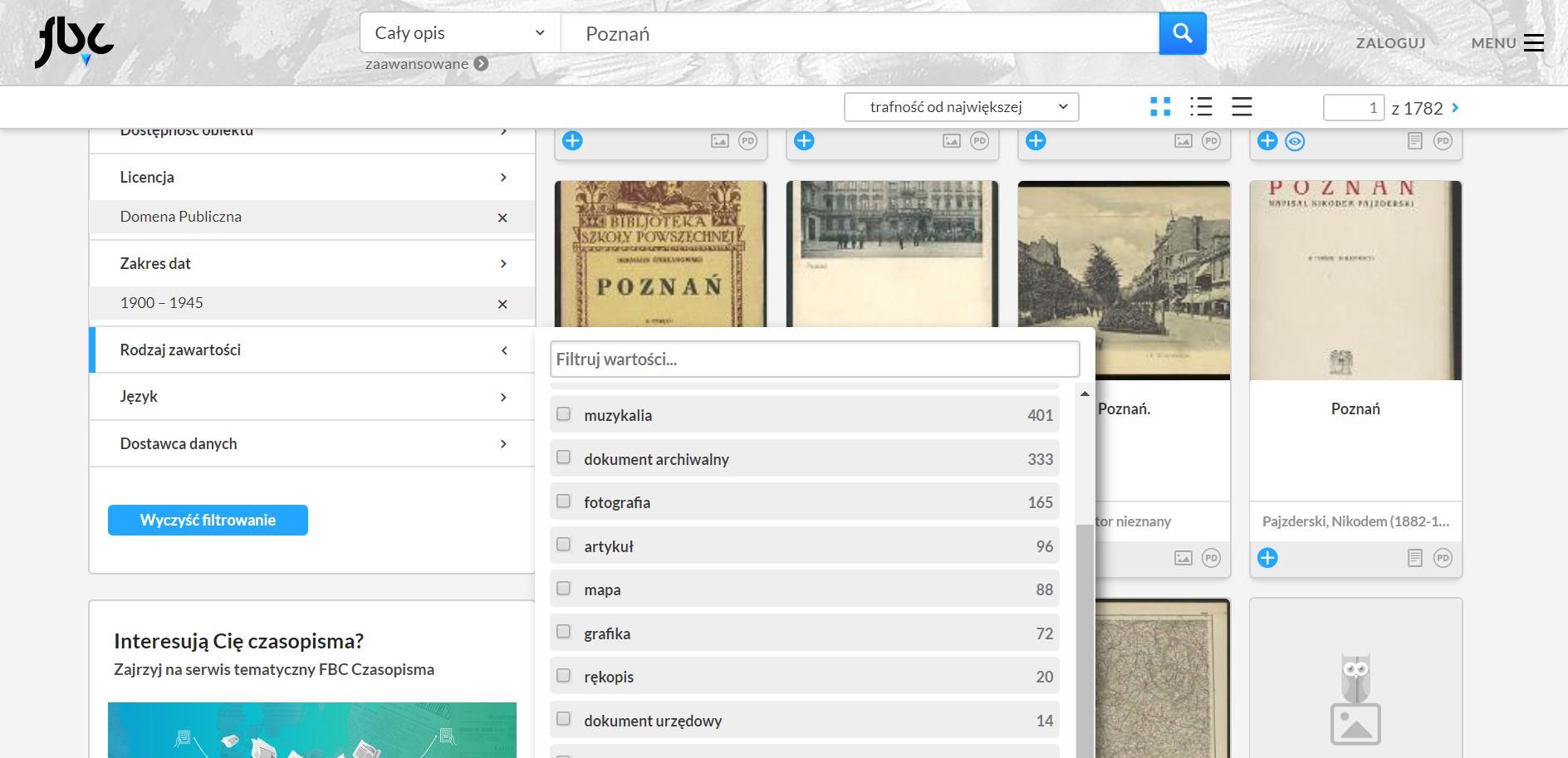strona serwisu Federacja Bibliotek Cyfrowych ze wskazaniem miejsca, gdzie ustawia się rodzaj zawartości archiwaliów, które mają zostać wyszukane
