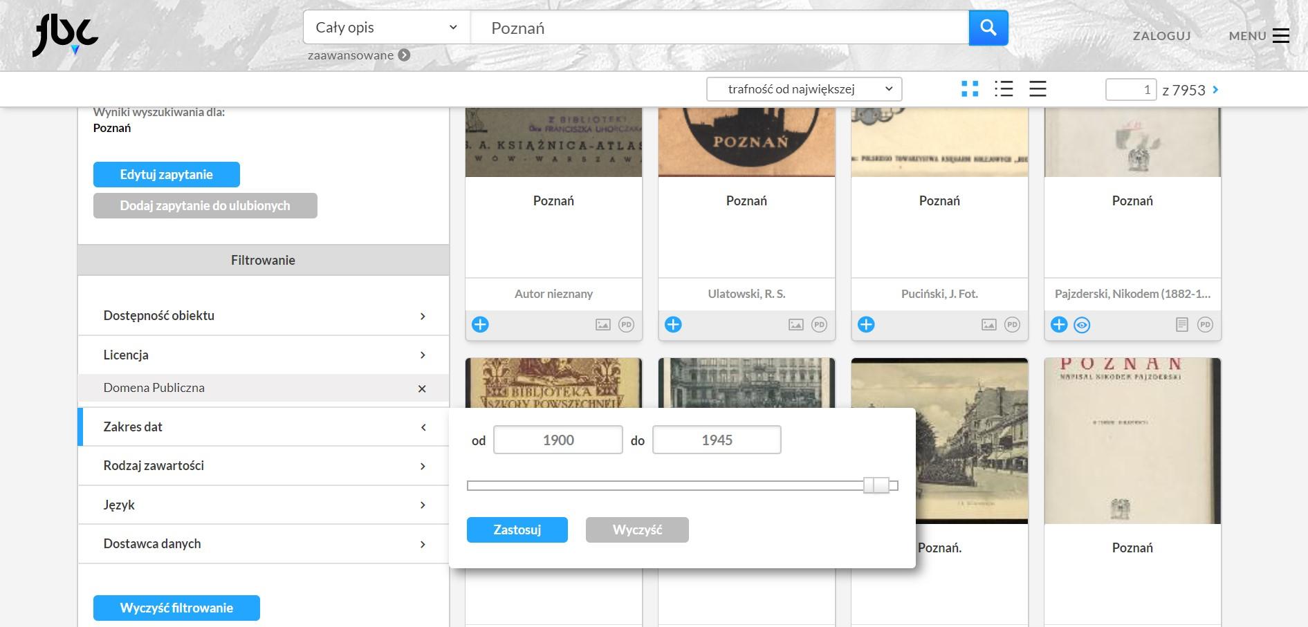 strona Federacji Bibliotek Cyfrowych, na której wskazano miejsce, gdzie ustawia się zakres dat sortujących wyniki wyszukiwania