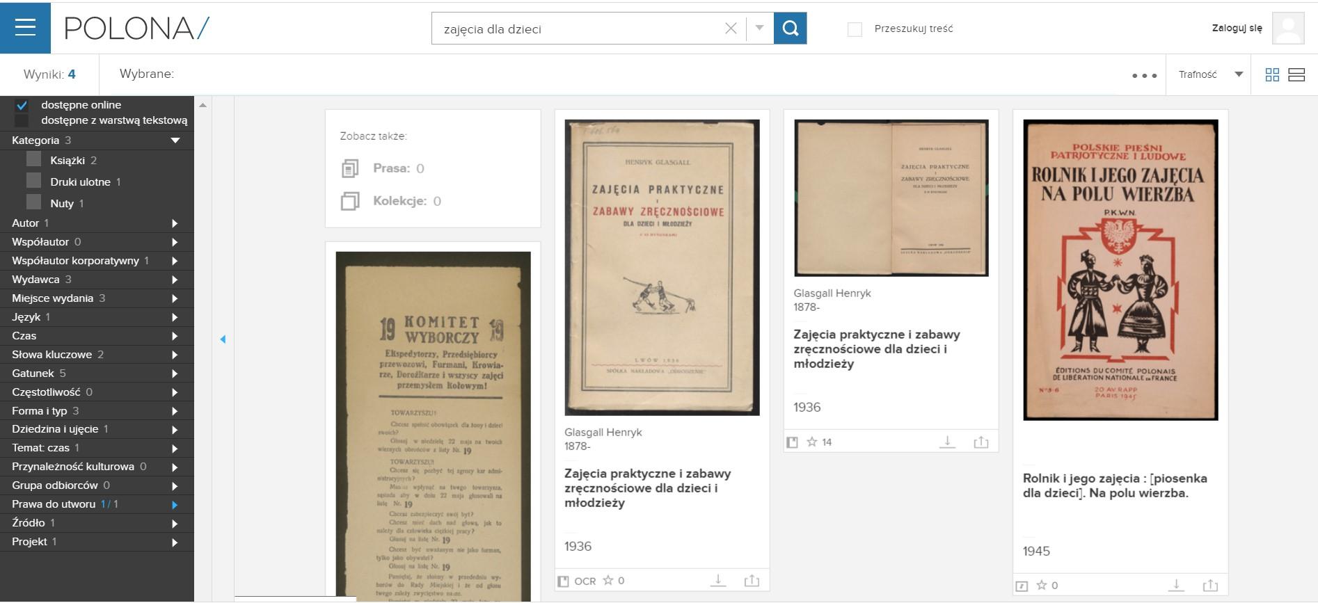strona Polona z wynikami wyszukiwania, wśród których widnieją okładki kilku archiwalnych książek i dokumentów