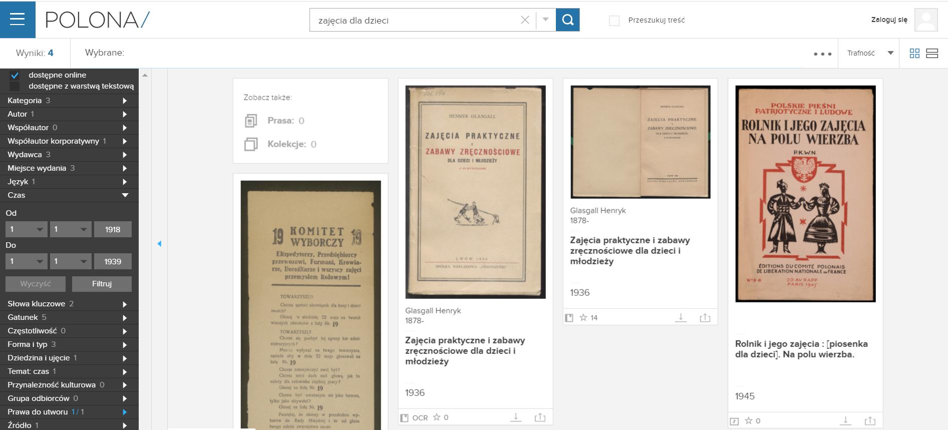 strona serwisu Polona, na której wskazano miejsce, gdzie ustawia się daty sortujące wyniki wyszukiwania