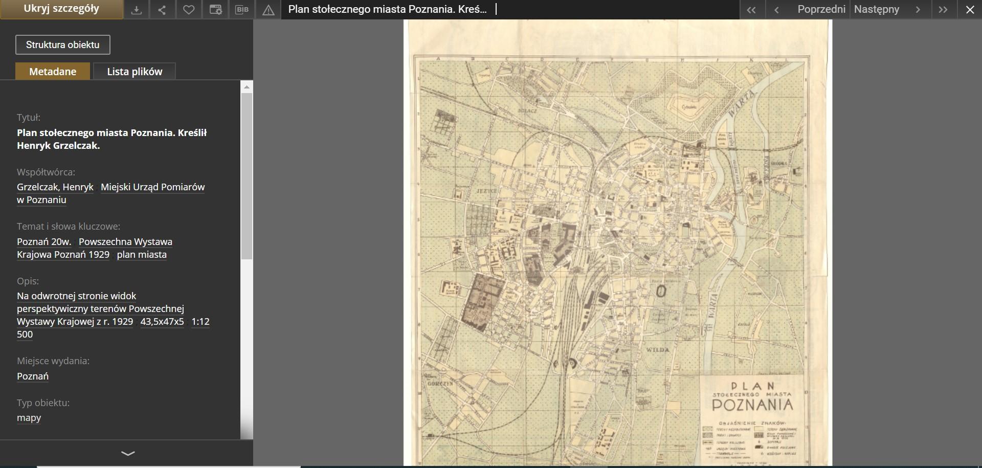 dużych rozmiarów archiwalny plan Poznania odnaleziony w zasobach Federacji Bibliotek Cyfrowych