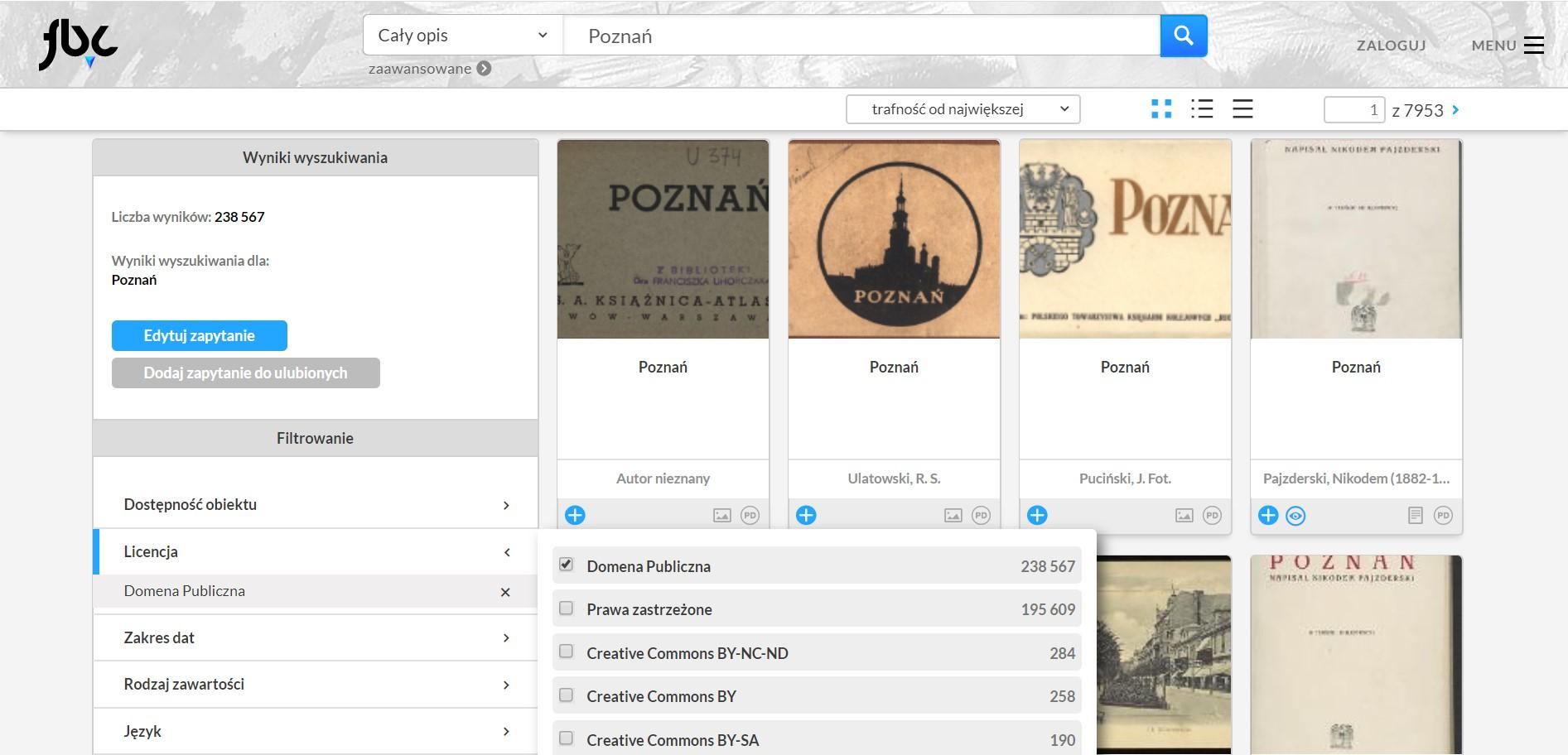 strona wyników wyszukiwania w serwisie Federacja Bibliotek Cyfrowych, gdzie pojawia się kilka archiwaliów opisanych jako Poznań