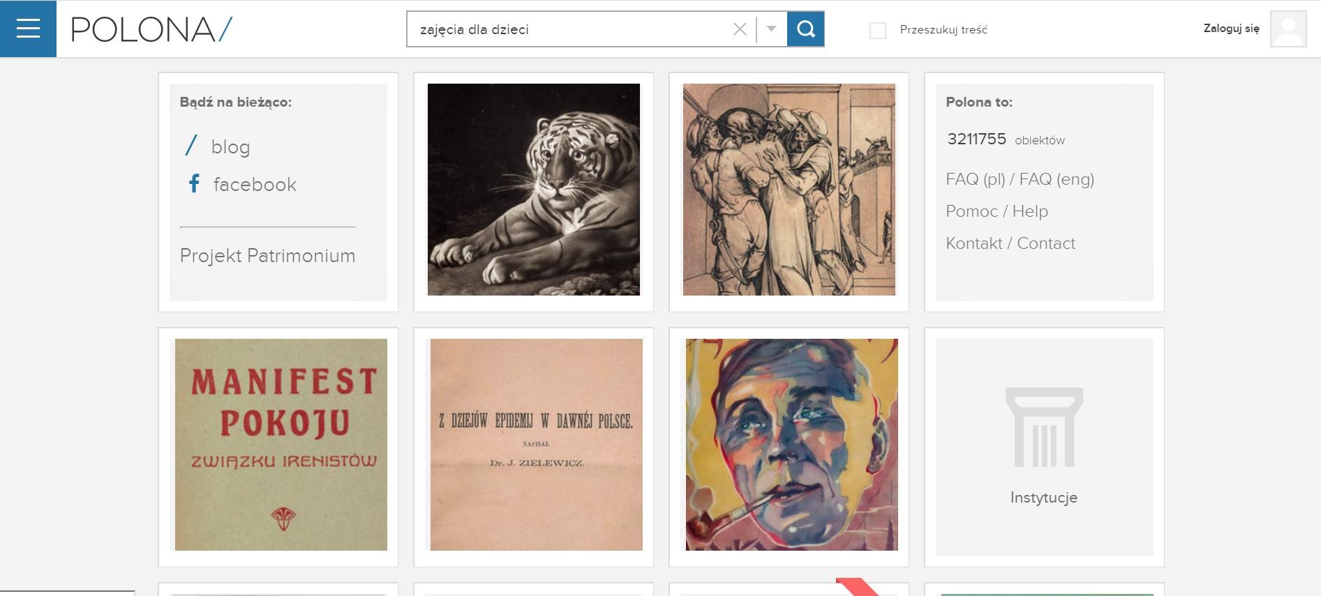 strona główna serwisu Polona prezentująca wybrane zasoby archiwalne